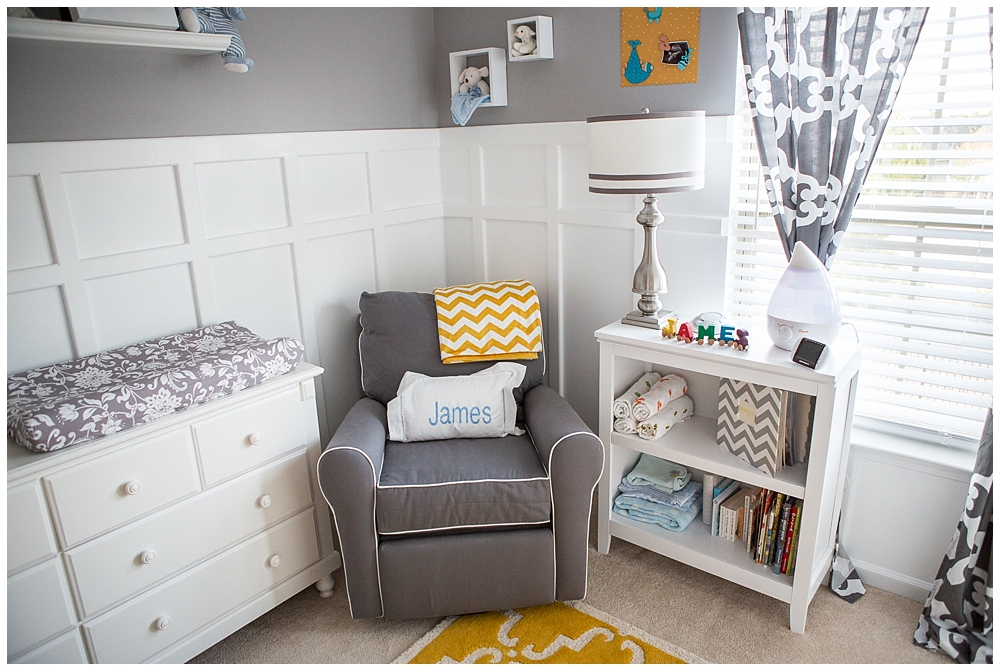 Gray and Yellow Preppy Nursery Glider Corner