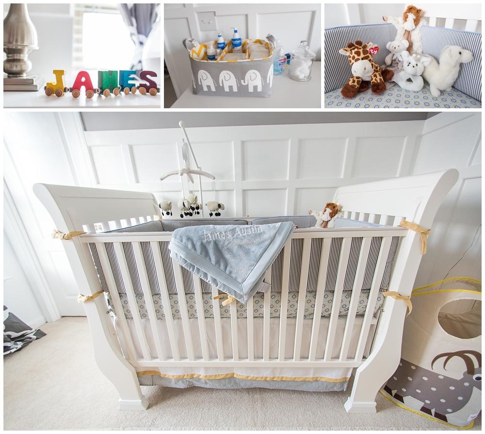 Gray and Yellow Preppy Nursery Crib View