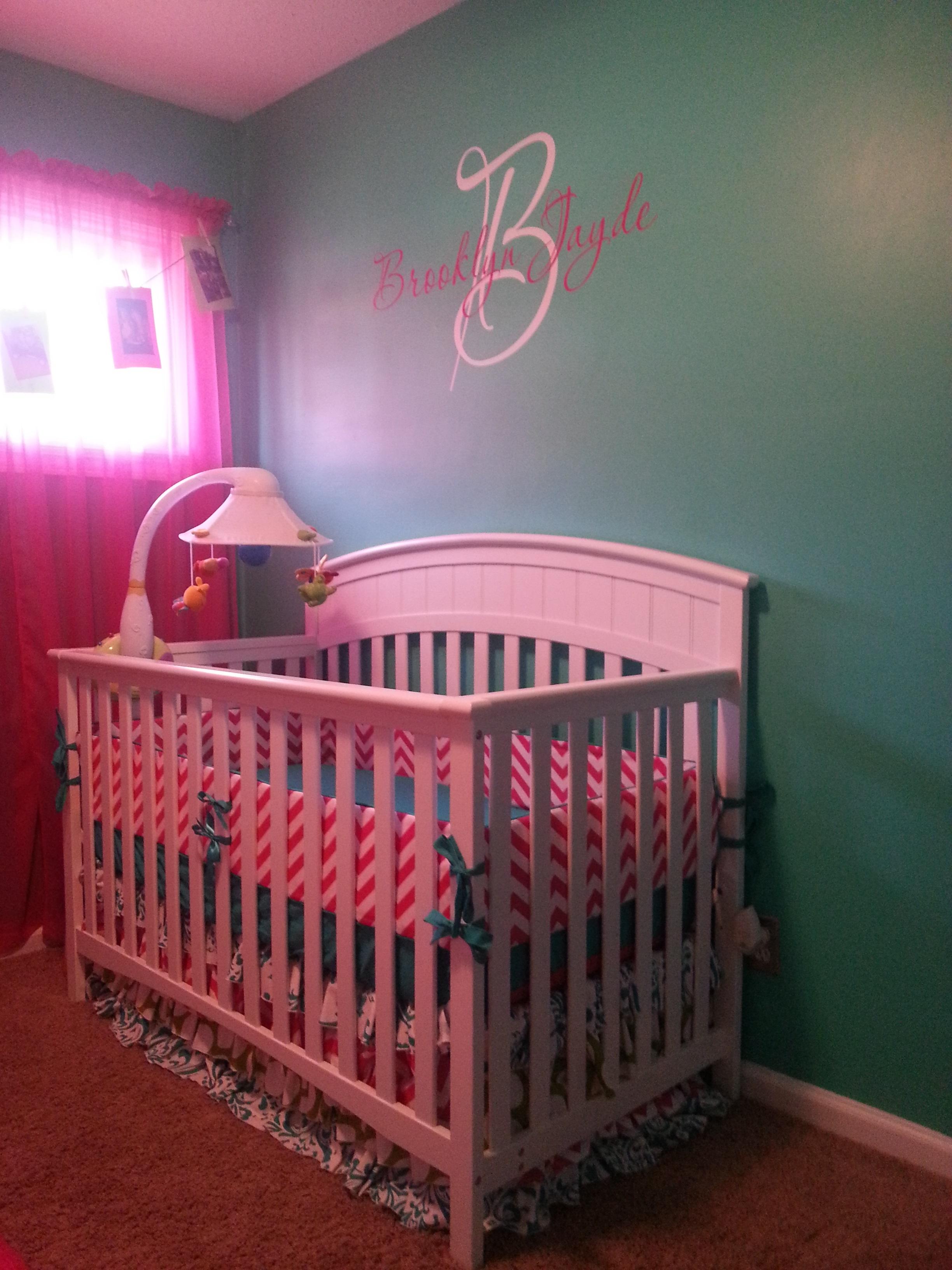 Pink and Blue Girl Nursery Crib View
