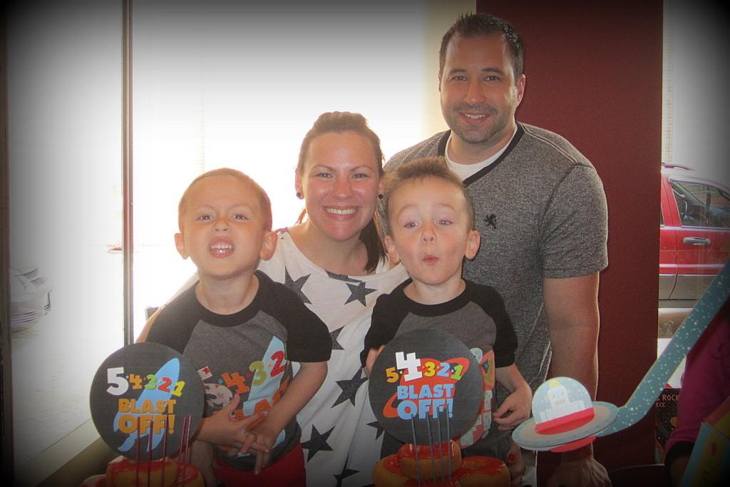 Blastoff Brothers Shared Birthday Party Family