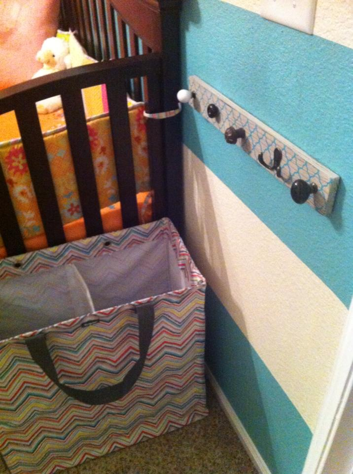 Turquoise Striped and Pink Nursery Wall Hooks