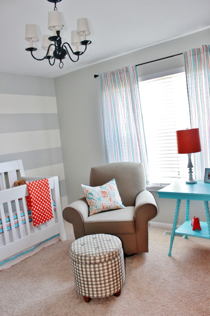 Gray Striped Orange and Aqua Nursery