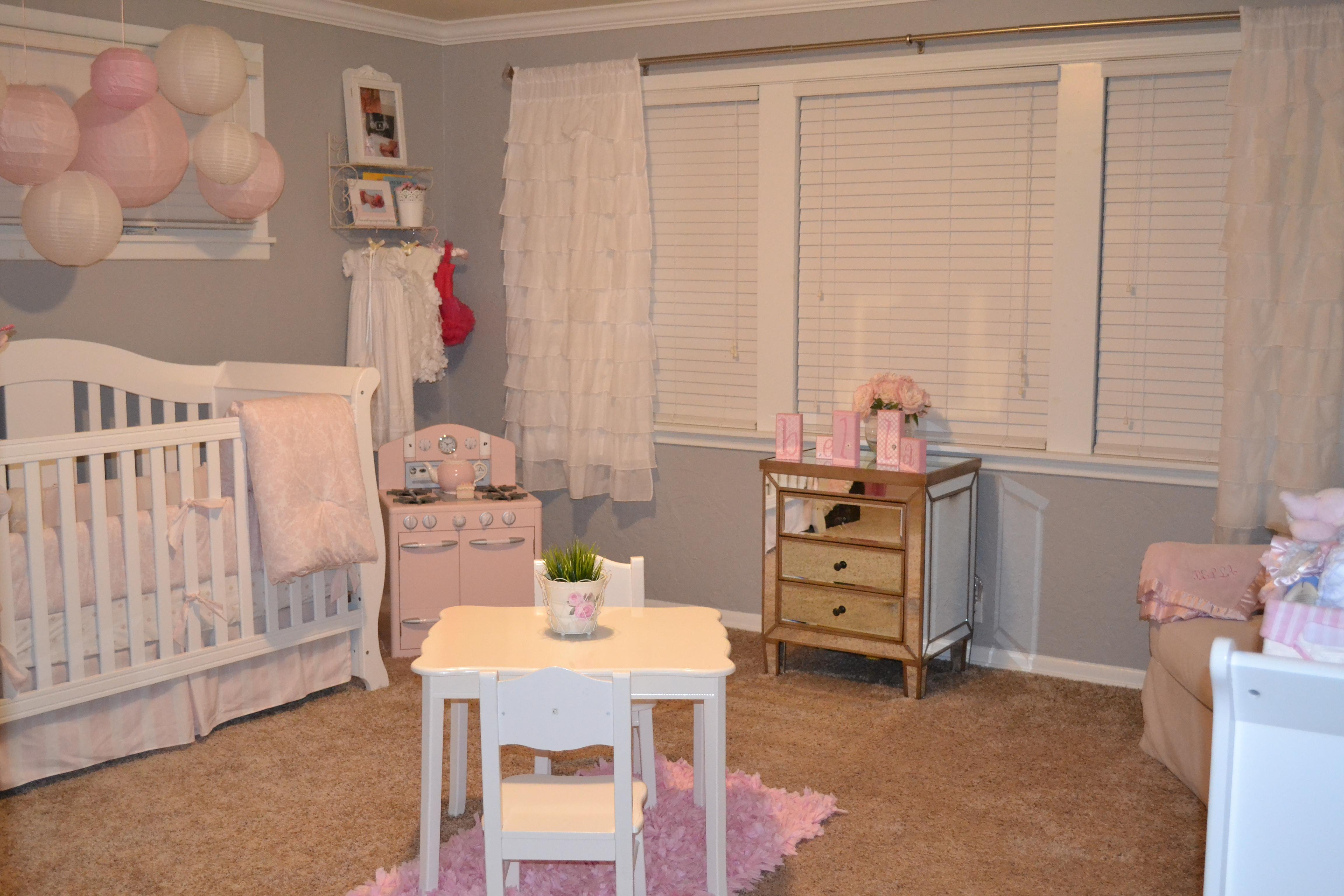 Gray and Light Pink Girl Nursery Room View