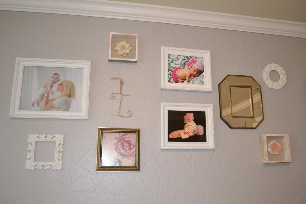 Gray and Light Pink Girl Nursery Wall Art