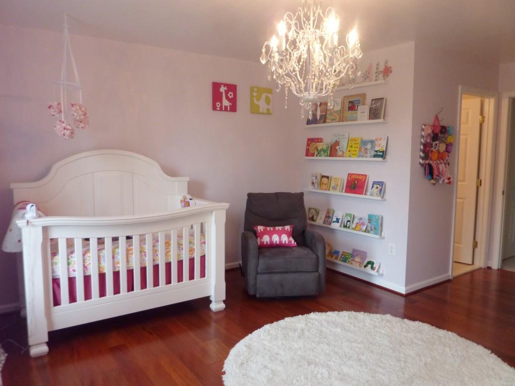 Hot Pink and Gray Elegant Girl Nursery Bookshelf
