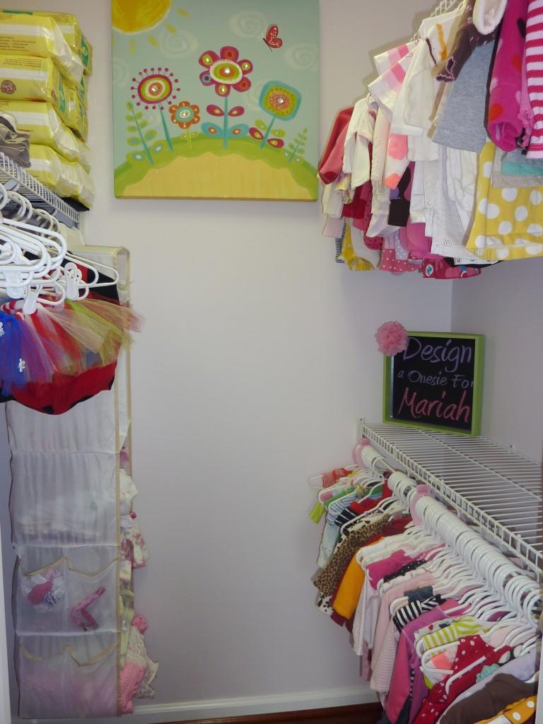 Hot Pink and Gray Elegant Girl Nursery Organized Closet