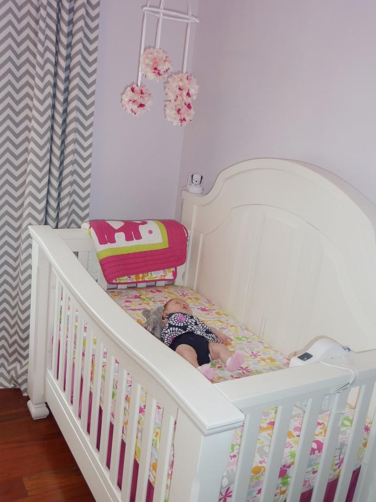 Hot Pink and Gray Elegant Girl Nursery Crib View