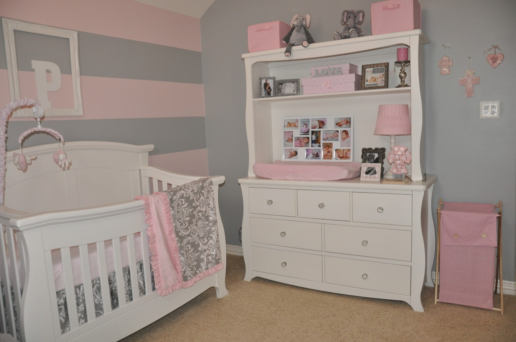 Gray and Pink Striped Wall Changer