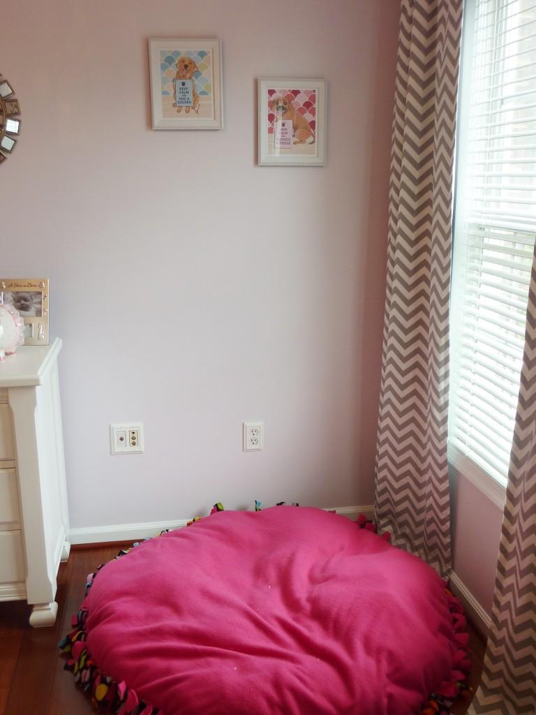Hot Pink and Gray Elegant Girl Nursery Dog Bed