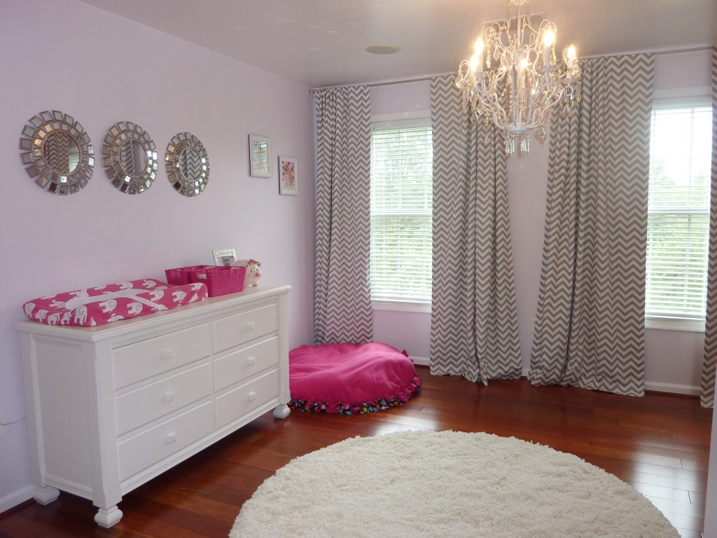 Hot Pink and Gray Elegant Girl Nursery Front Left