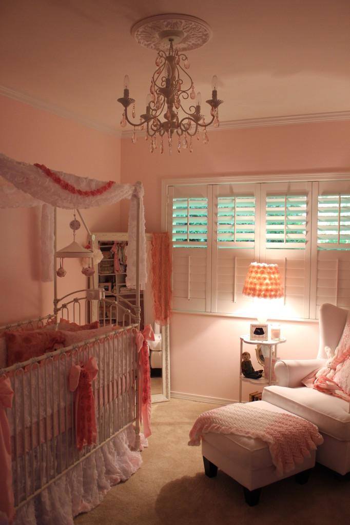 Vintage Glam Girl Nursery Wide Room Shot