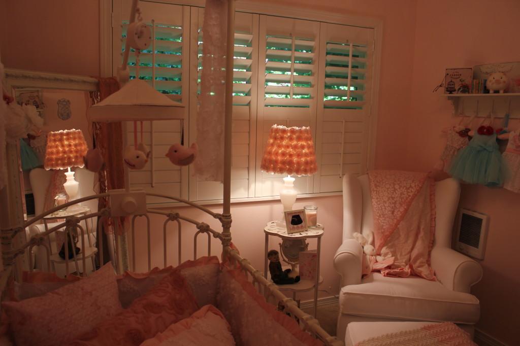 Vintage Glam Girl Nursery Crib and Glider