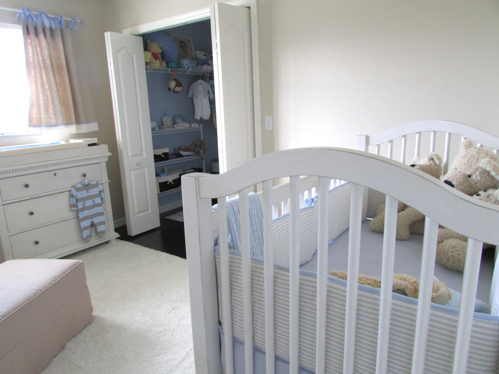 Gray Baby Boy Nursery Crib View