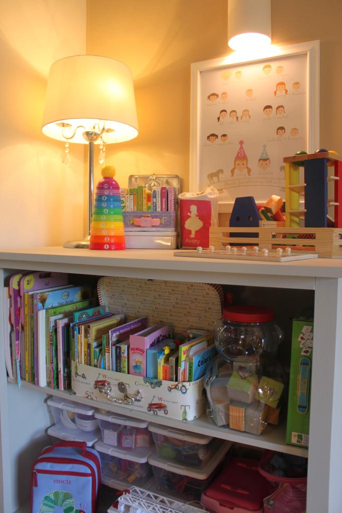 Vintage Chic Playroom Bookcase