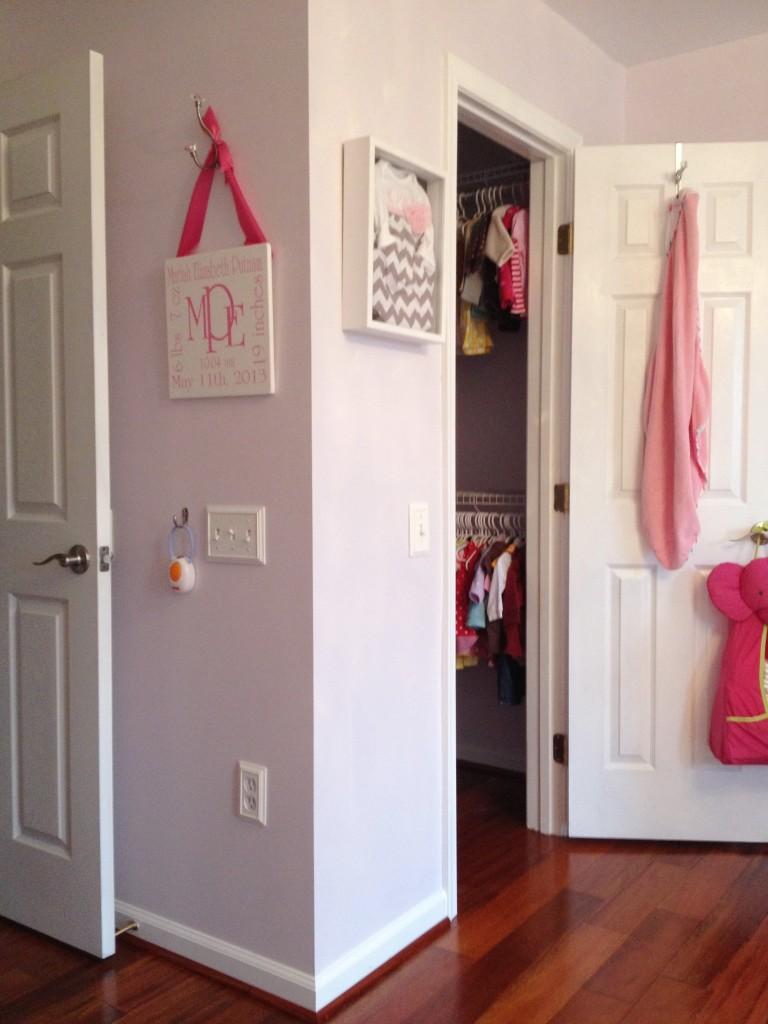 Hot Pink and Gray Elegant Girl Nursery Closet View