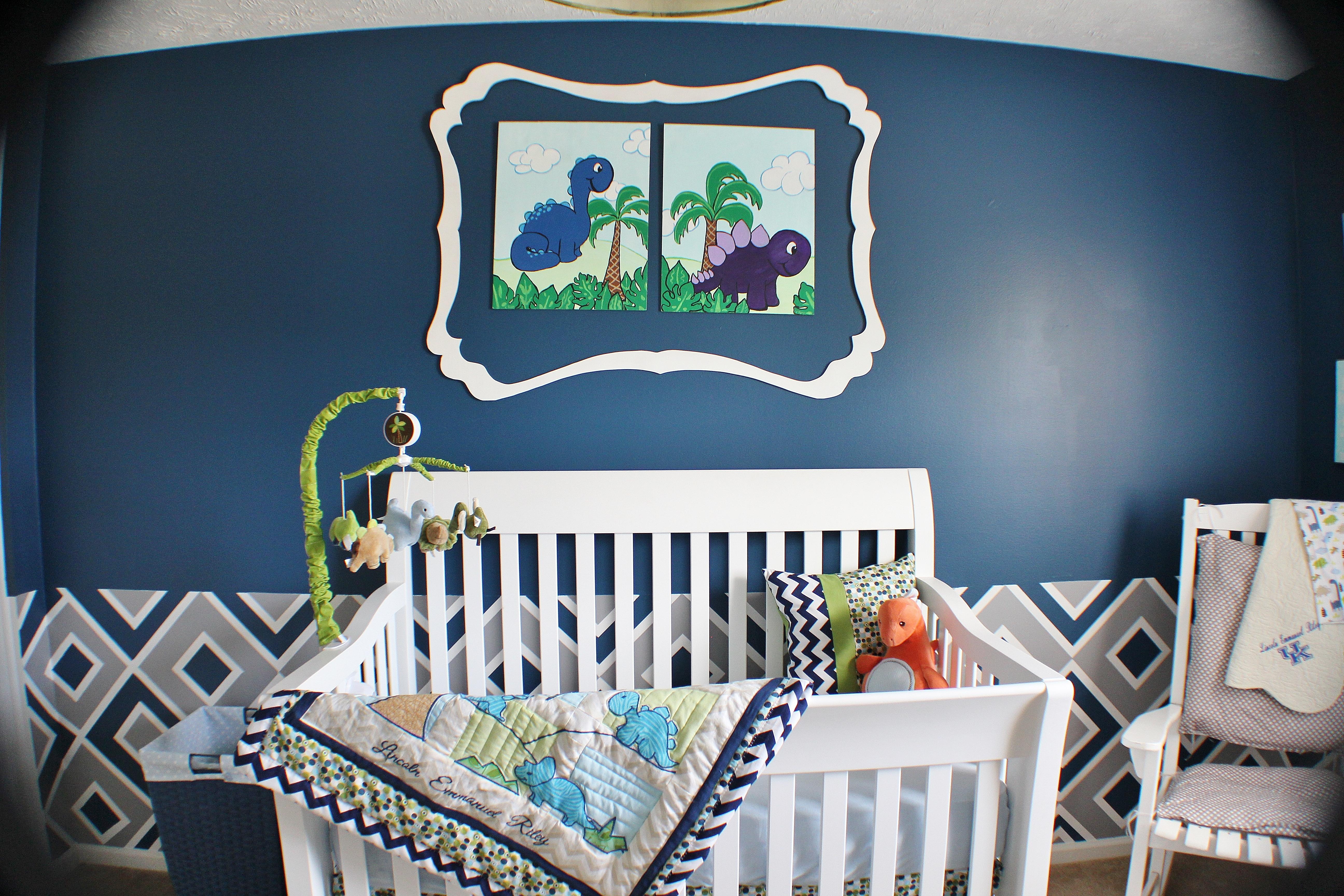 Boy Navy and Green Chevron Nursery Crib
