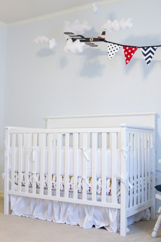 White Vintage Boy Airplane Nursery Crib