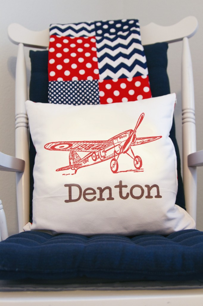 White Vintage Boy Airplane Nursery Airplane Pillow