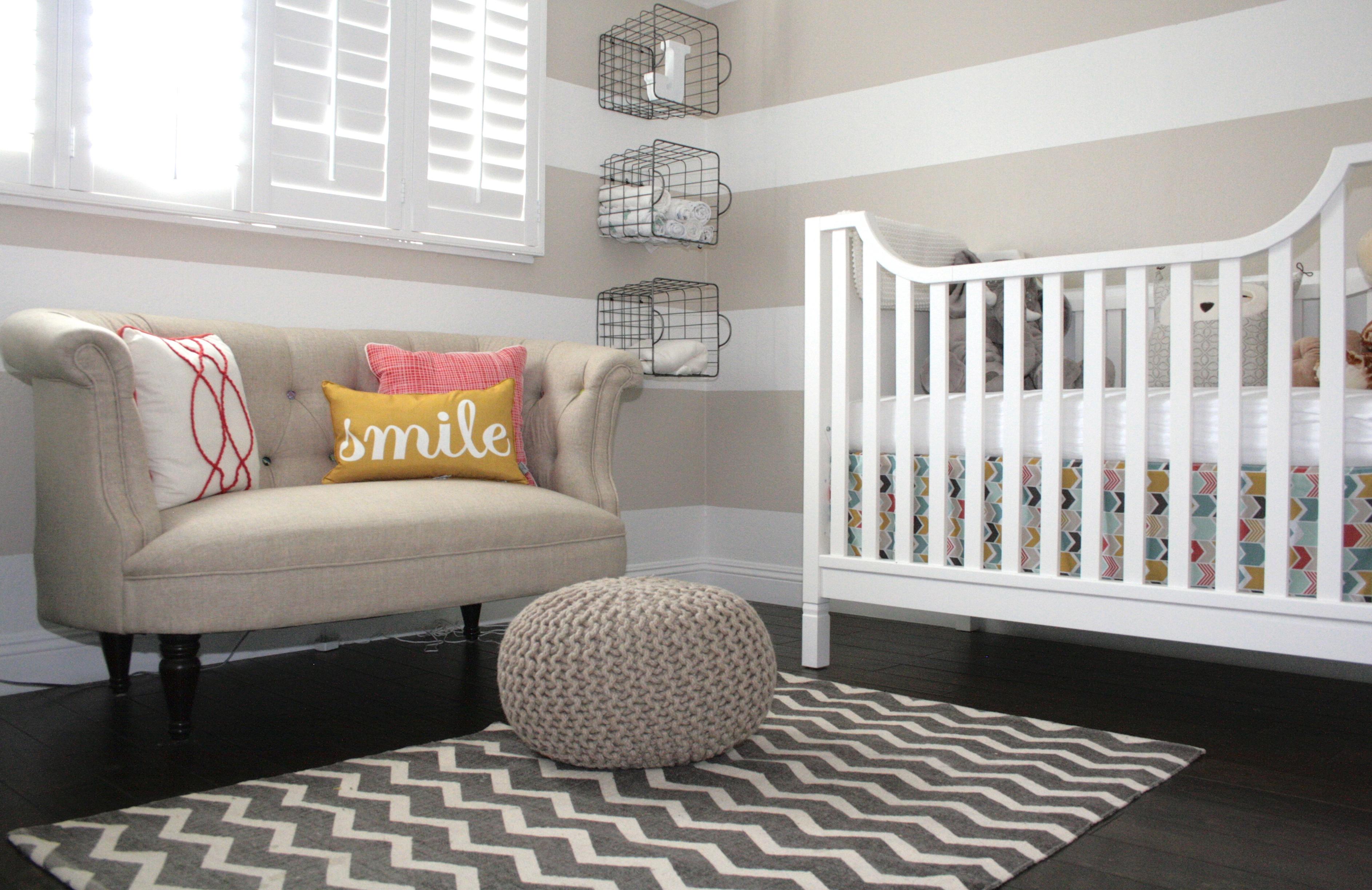 Striped Beige Girl Nursery Room View