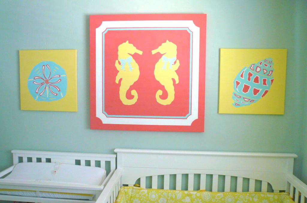Girl Nautical Nursery Close Up of Art