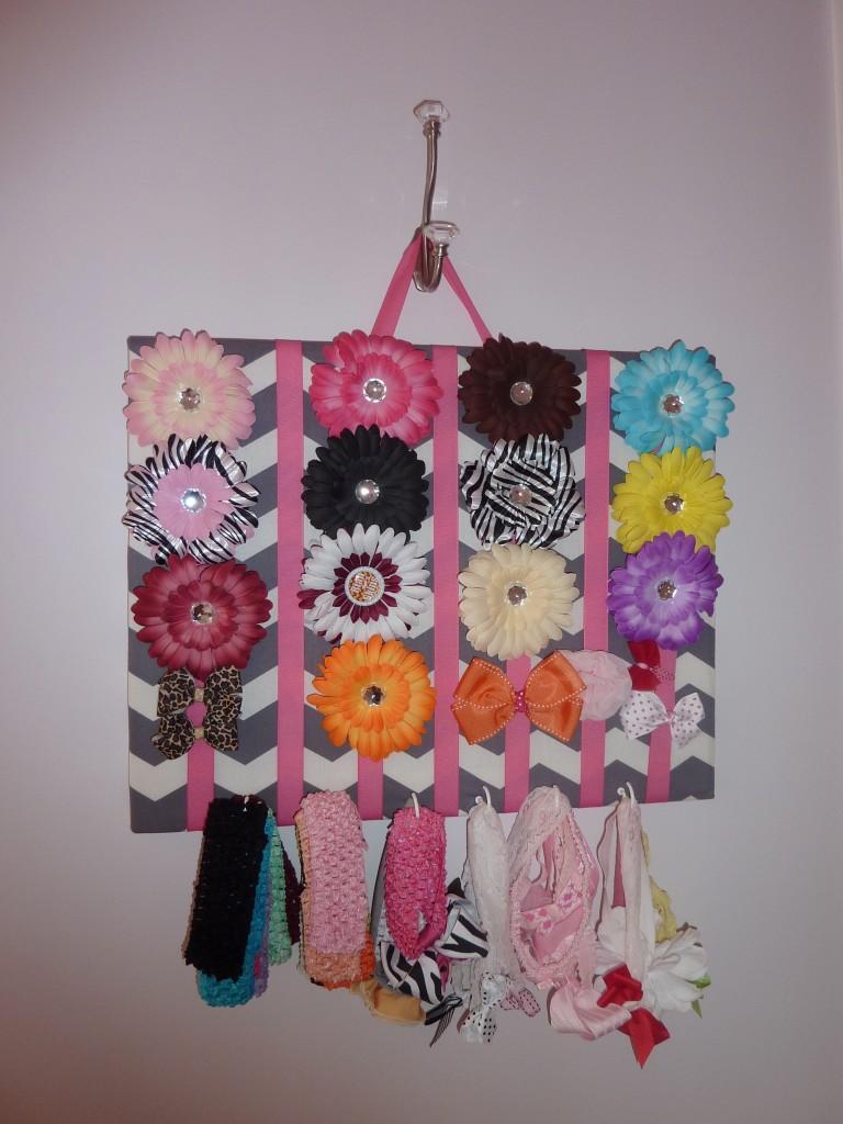 Hot Pink and Gray Elegant Girl Nursery Hair Bows