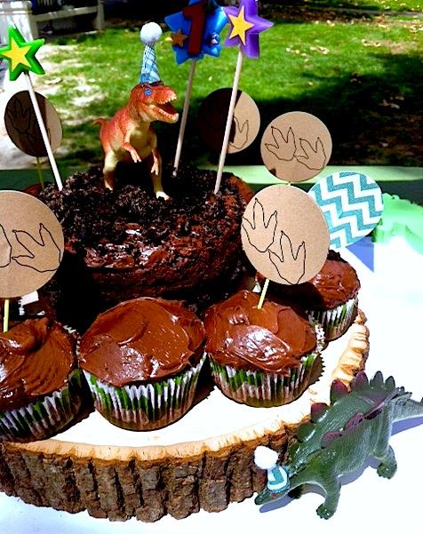 Dinosaur 1st Birthday Party Cupcakes