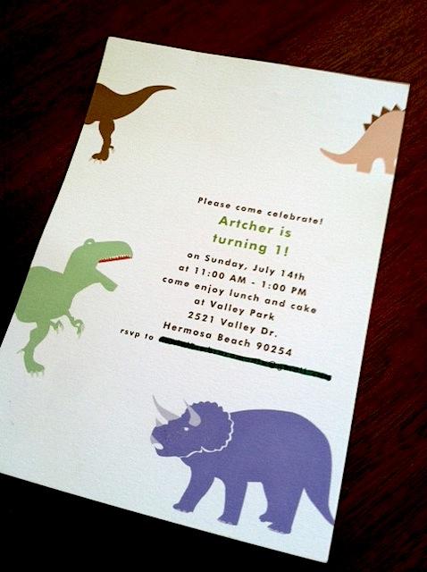 Dinosaur 1st Birthday Party Invite