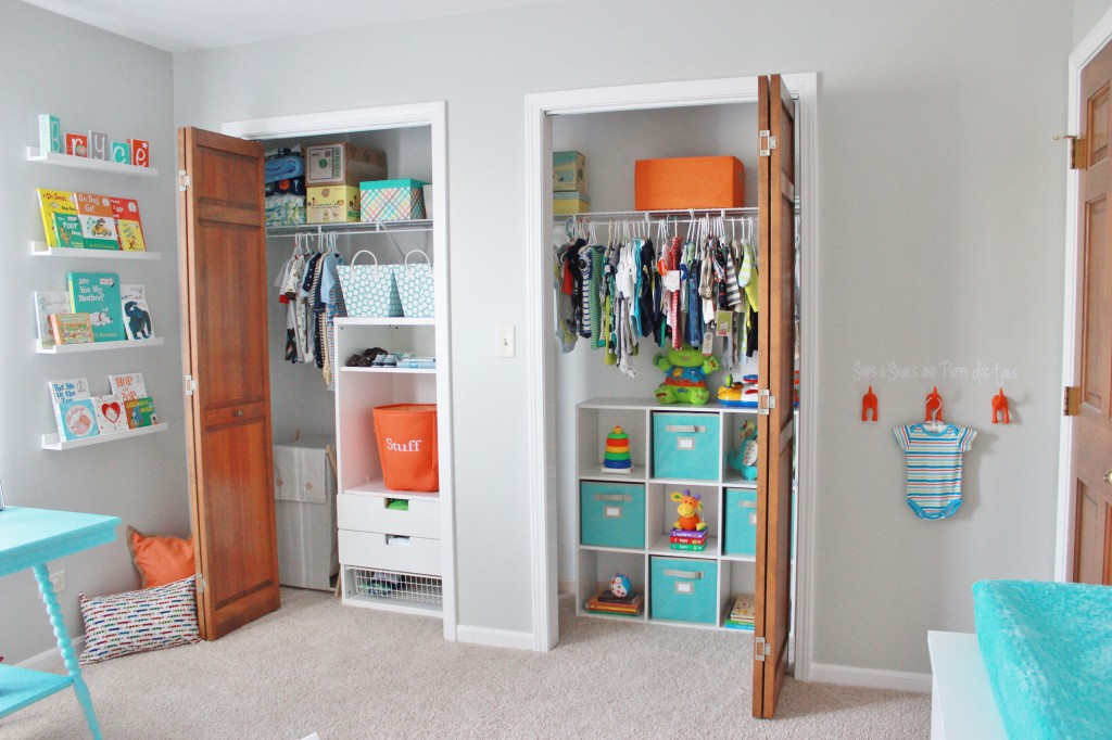 Gray Striped Orange and Aqua Nursery Closet