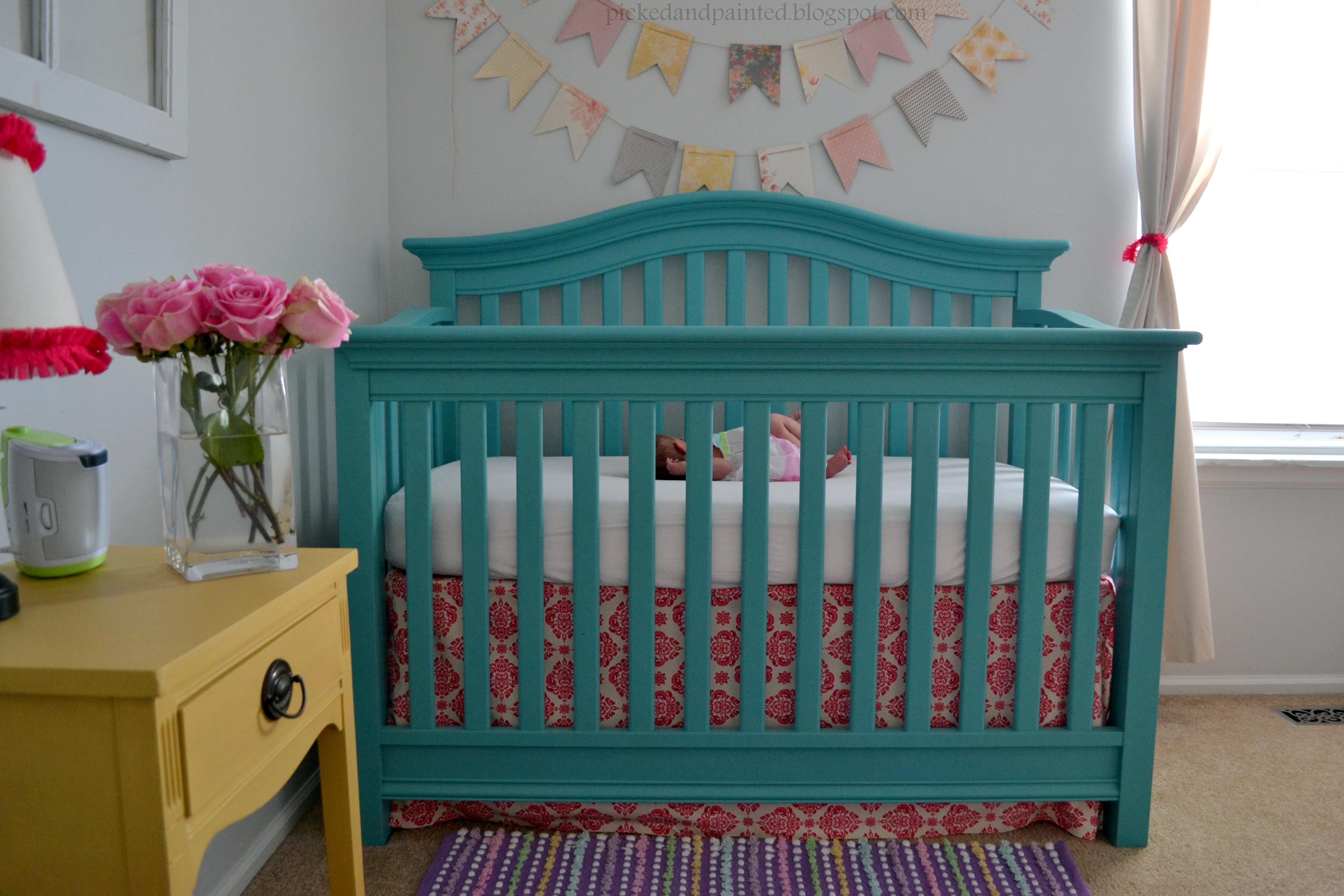 Teal and Yellow Girl Nursery Painted Crib