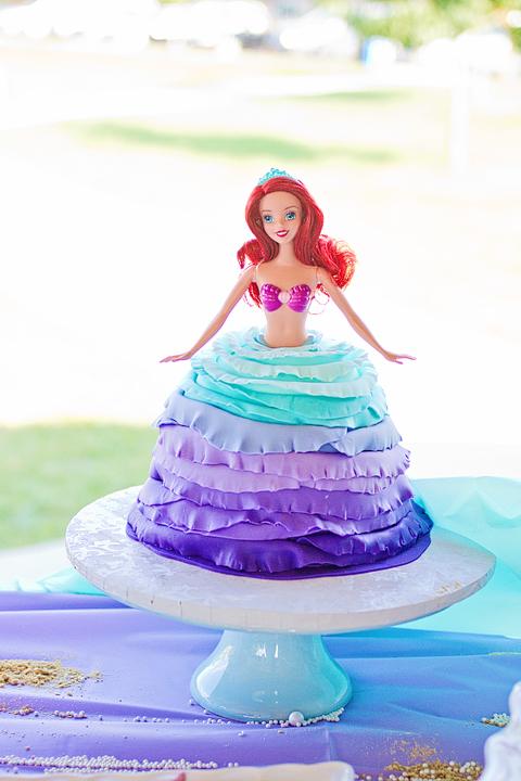 Little Mermaid 4th Birthday Party Barbie Cake