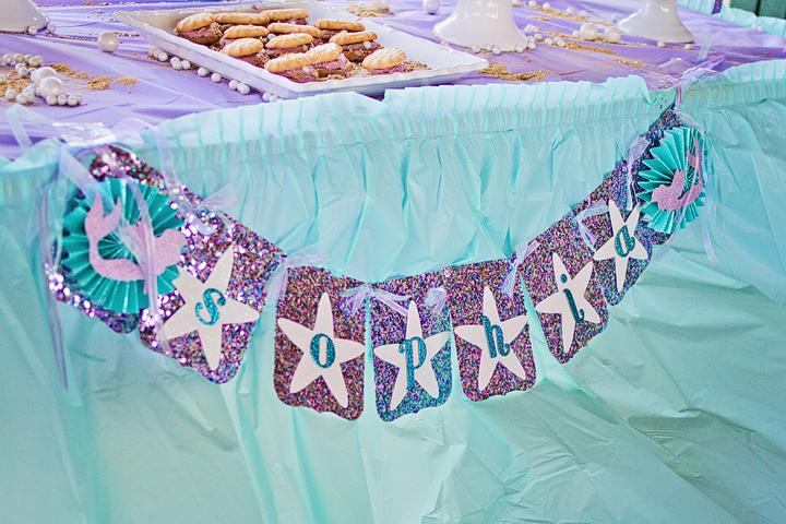 Little Mermaid 4th Birthday Party Banner