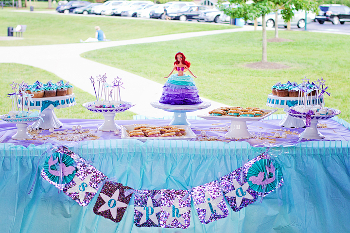8 21 Little Mermaid 4th Birthday Party Dessert Table