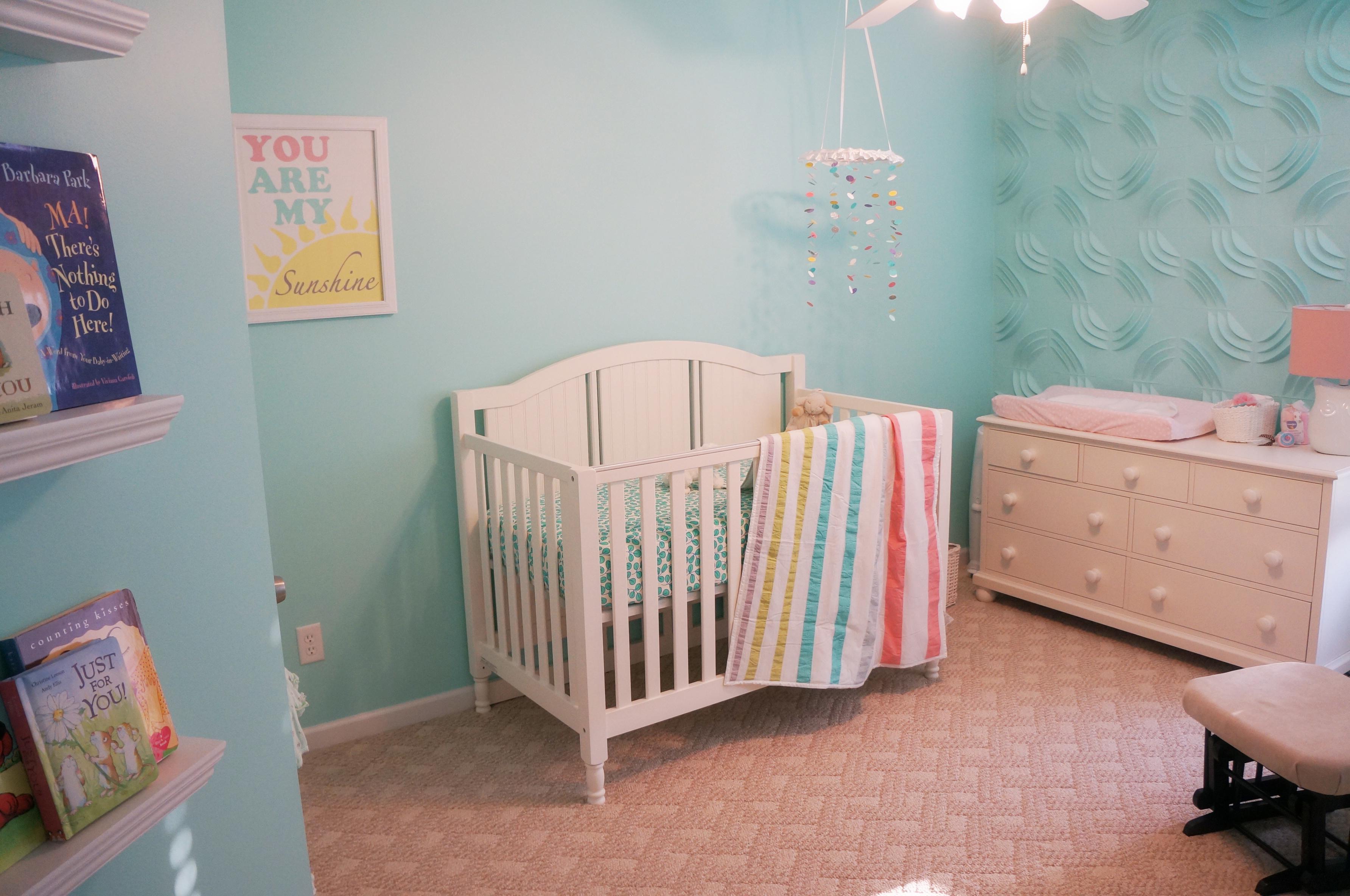 Girl Aqua and 3D Wallpaper Nursery Crib View