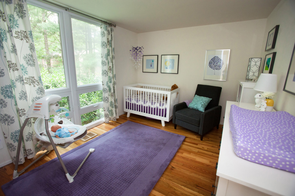 Purple, Aqua, and White Girl Nursery Room View