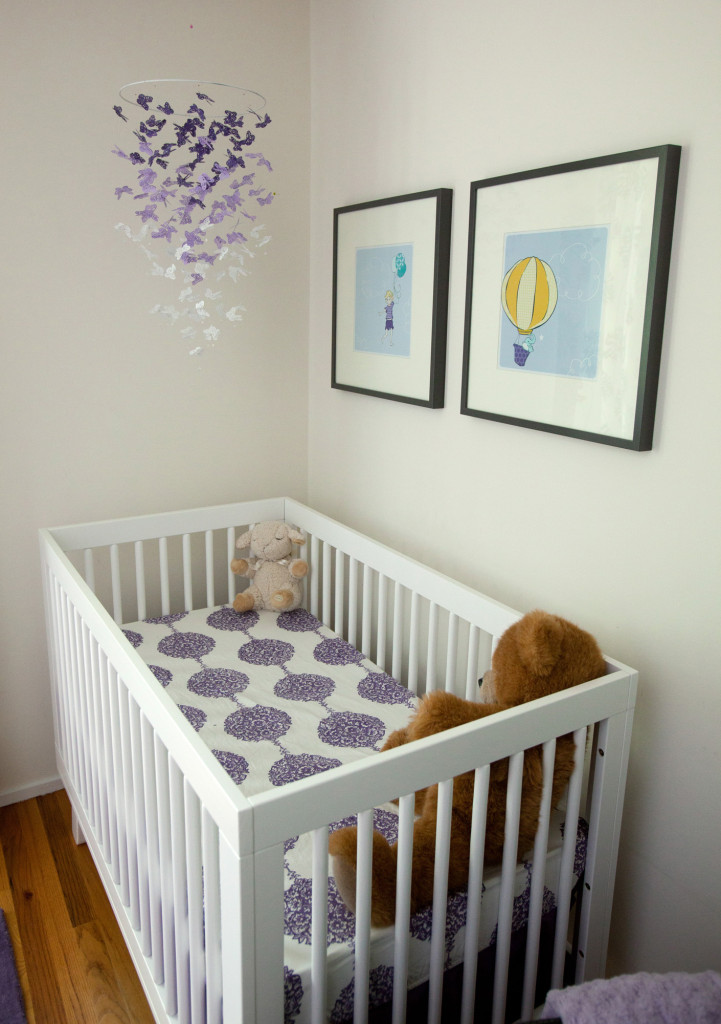 Purple, Aqua, and White Girl Nursery Crib View