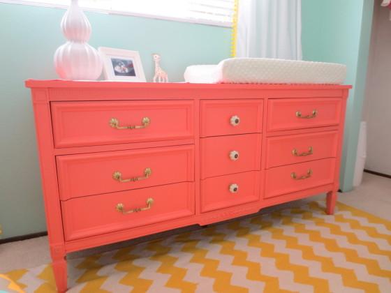 Aqua and Coral Nursery Dresser