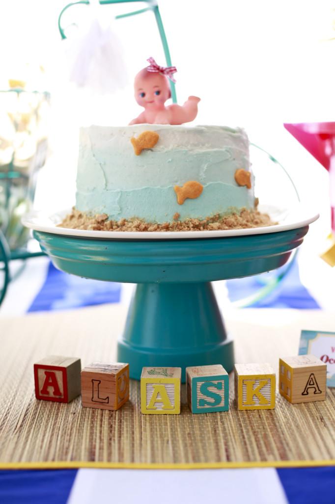 Vintage Beach Baby Shower Cake