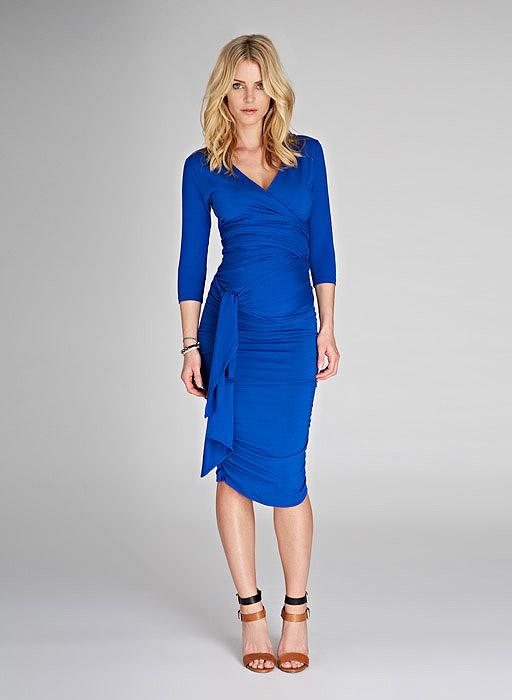 Blue Maternity Wrap Dress