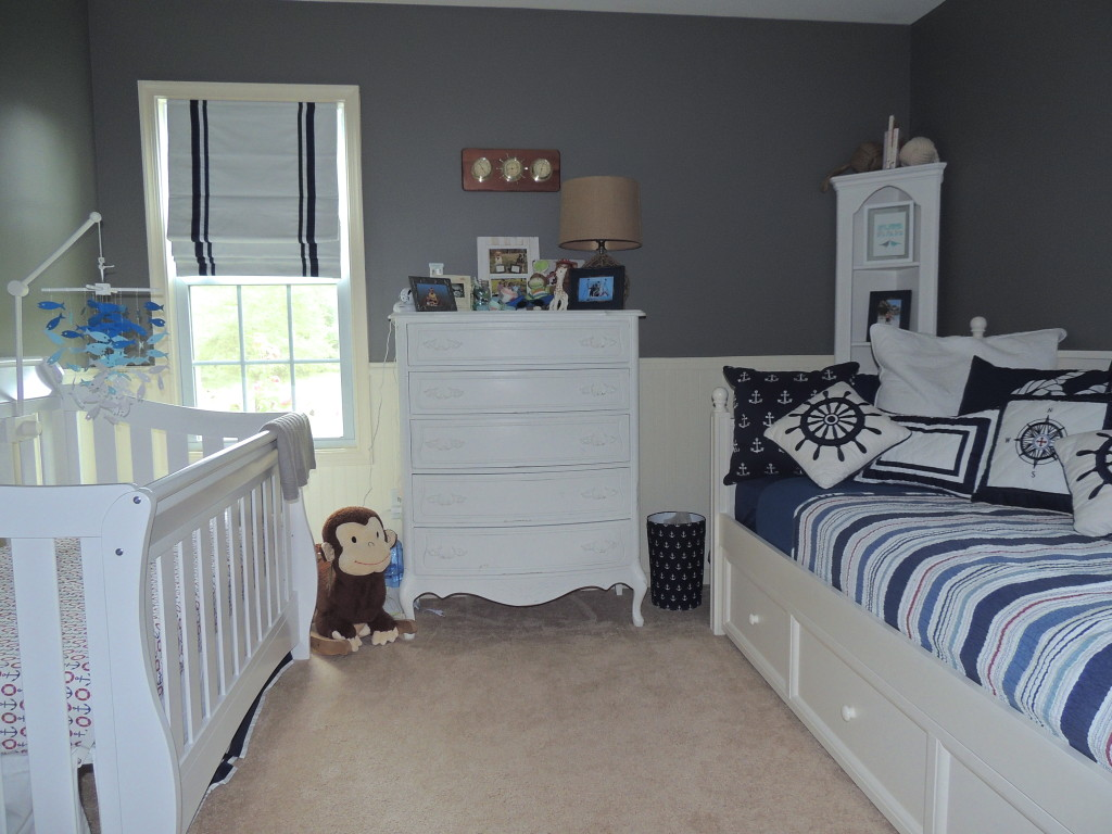Gray & Navy Nautical Nursery - Project Nursery Nautical Home Design Wainscoting on nautical vanity, nautical siding, nautical basement, nautical cornices, nautical flooring, nautical shelving, nautical lighting, nautical tile, nautical ceiling, nautical shadow boxes,
