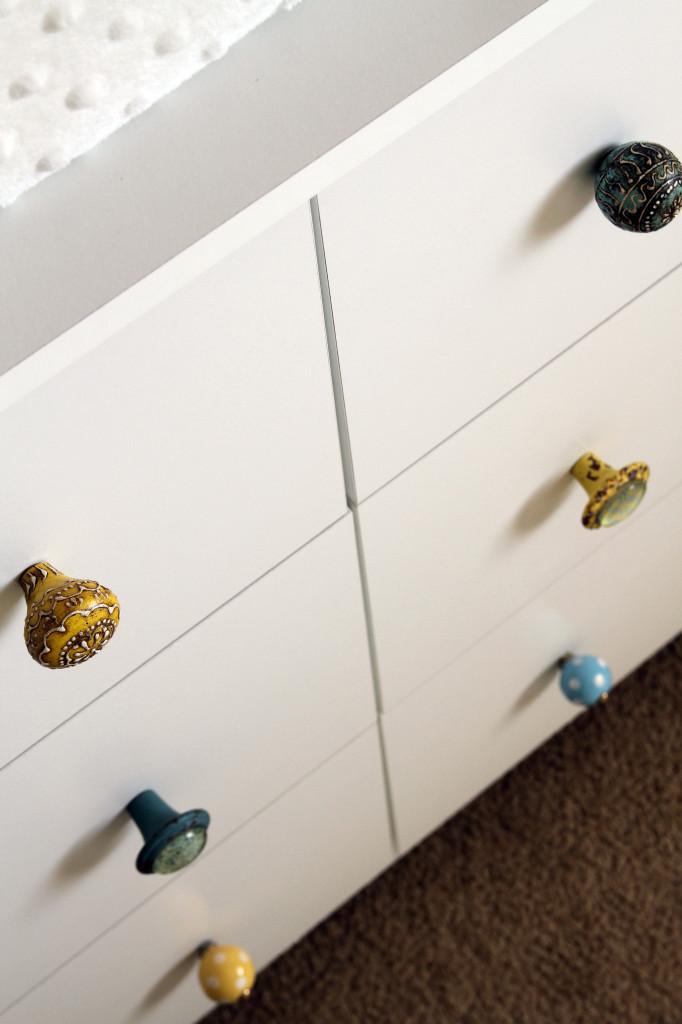 Twin Boys Nursery Colored Knobs