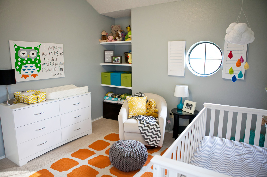 Gray and Orange Eclectic Room Room View