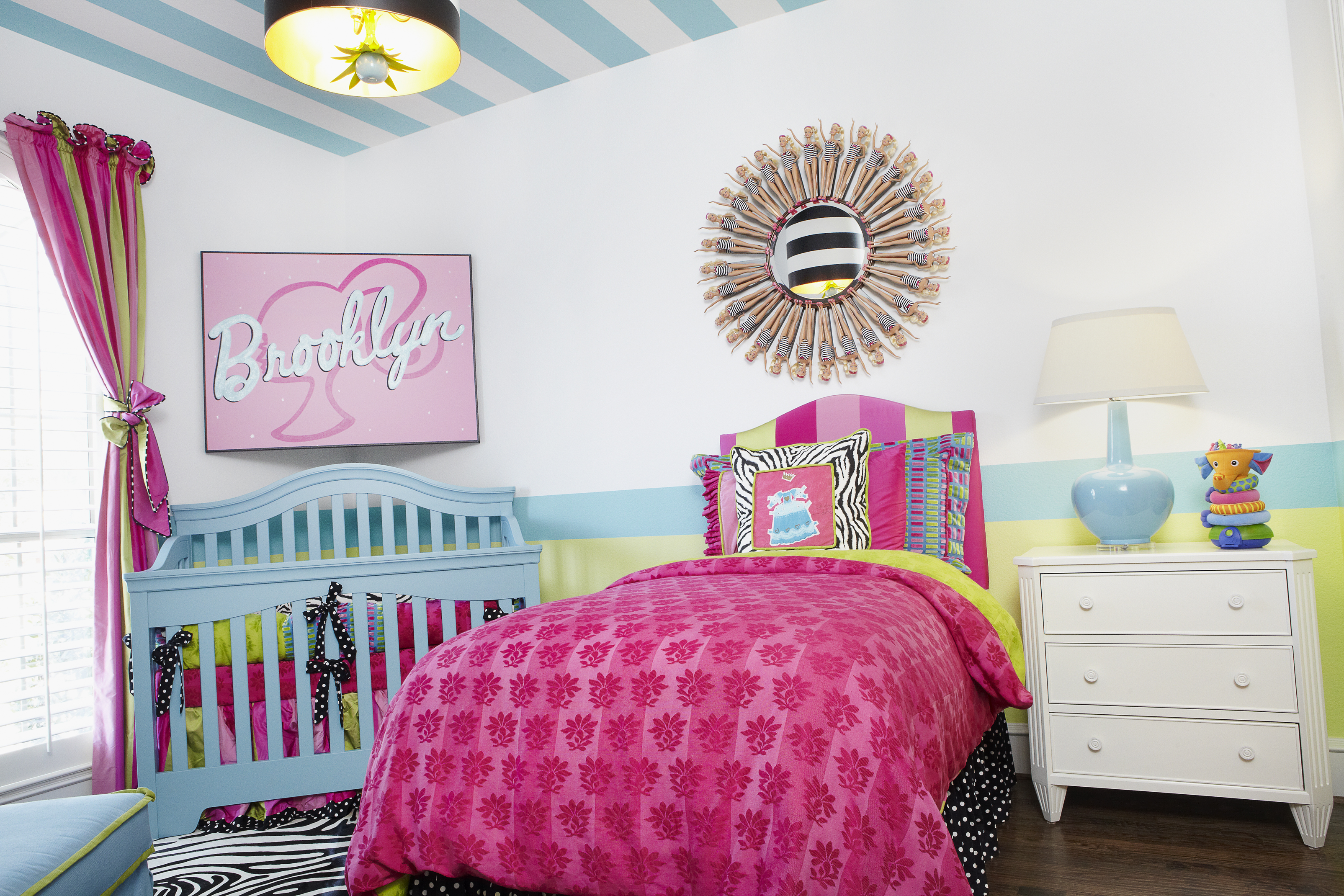 Nursery with Striped Ceilings and Barbie Art Room View