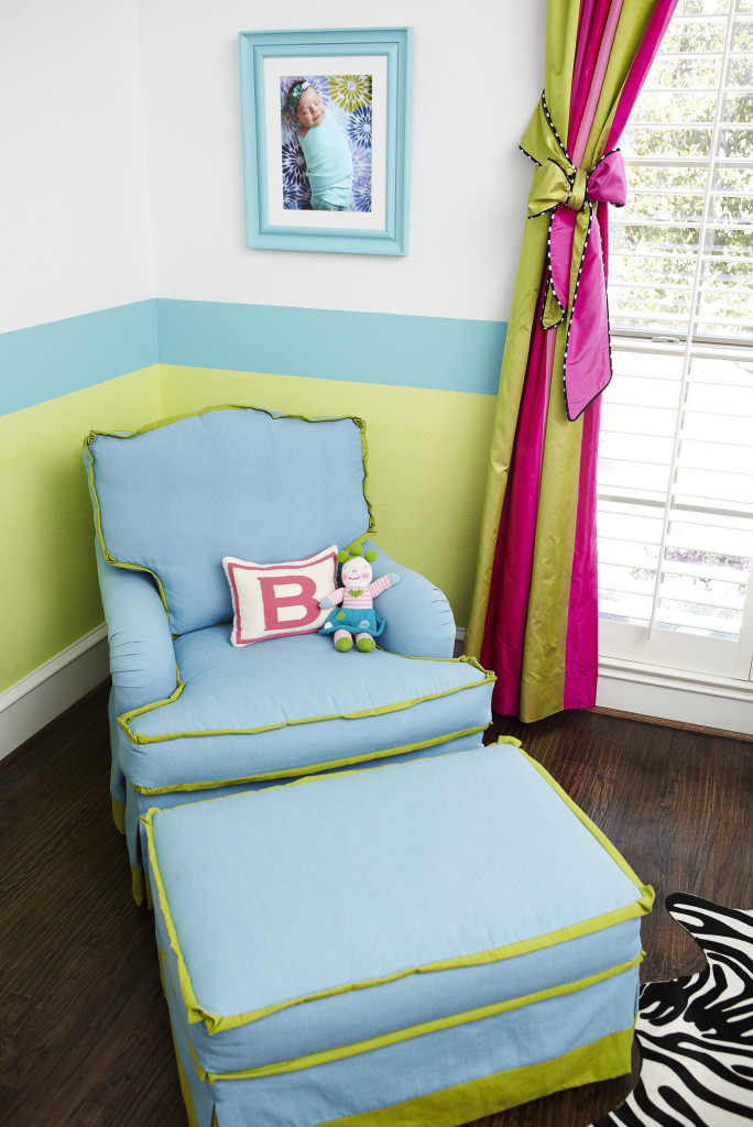 Nursery with Striped Ceilings and Barbie Art Glider