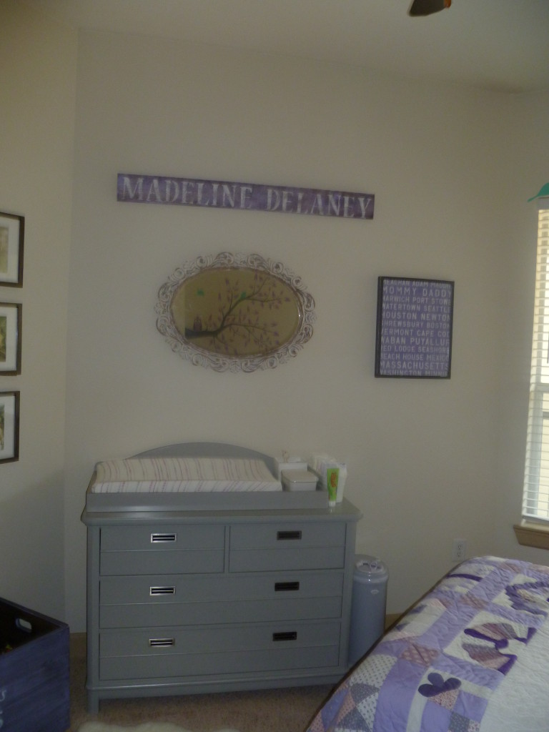 GIrl Gray and Purple Nursery Room View