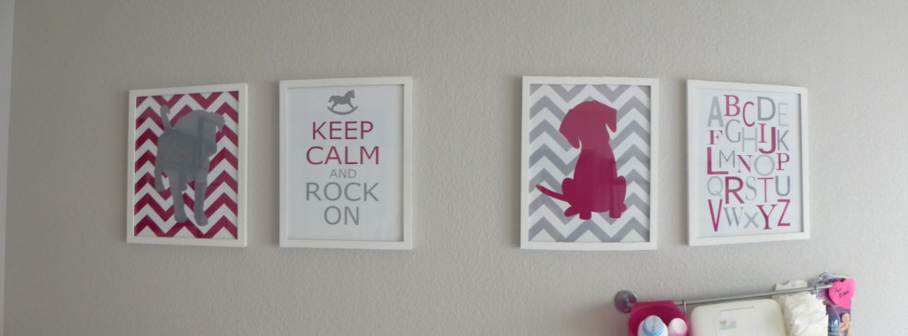 Gray and Pink Dog Nursery Theme