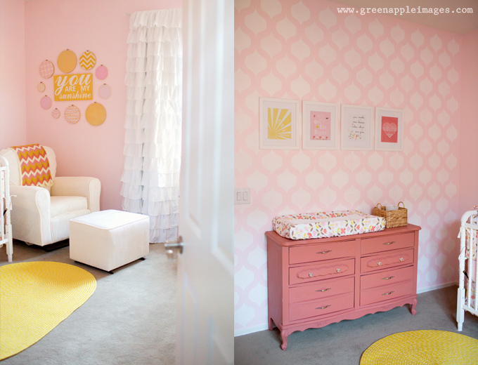 Pink, Coral, Yellow You Are My Sunshine Nursery Changer