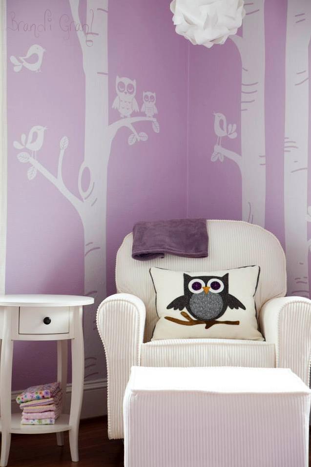 Girl Lavender Owl Nursery Glider
