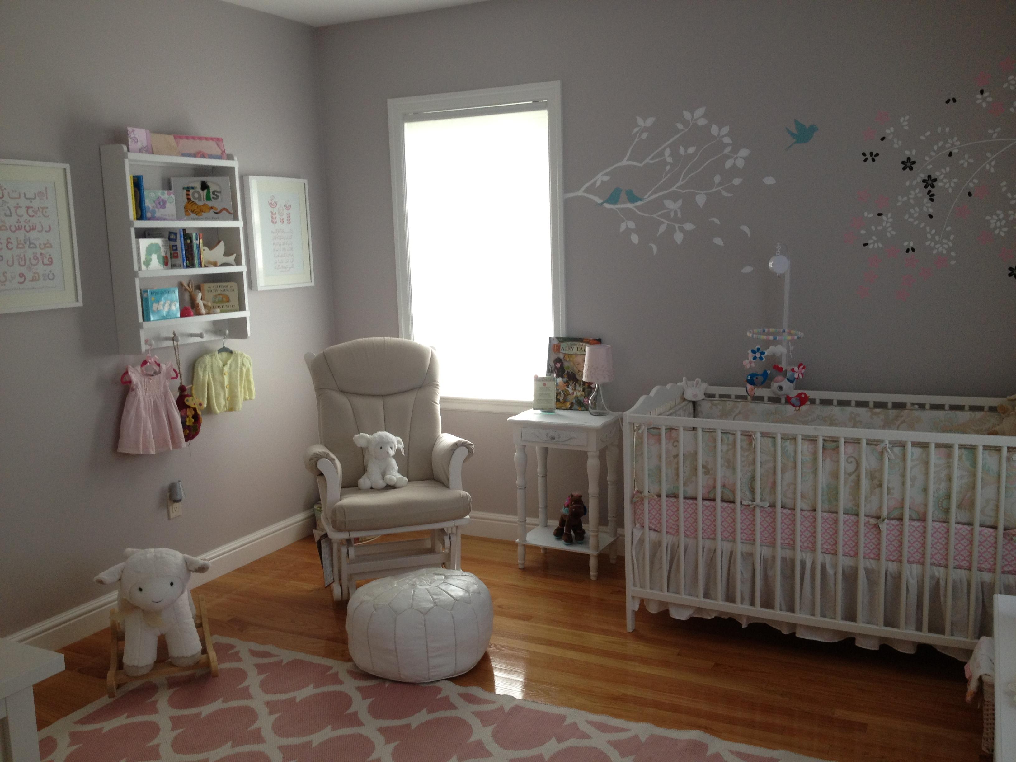 Girl Gray DIY Nursery Room View