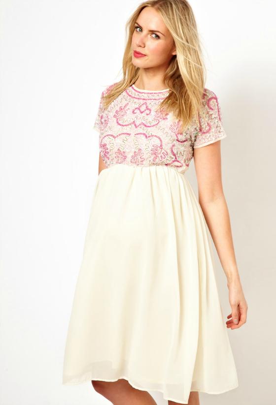 Embellishe Pink Maternity Dress