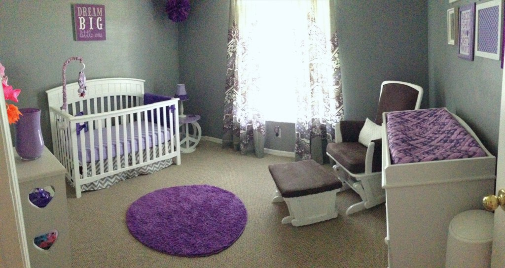 Gray and Purple Nursery Purple Rug
